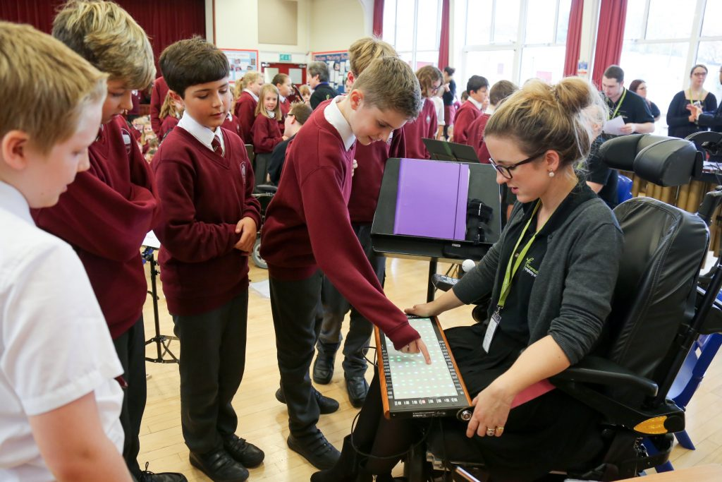 . Pupils talk to Charlotte Bott with her Linnstrument.