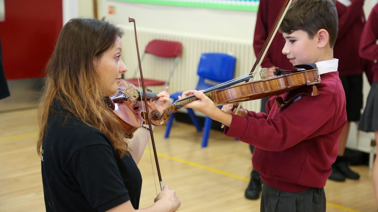 BSO Resound give a concert at Lockyer's Middle School in Corfe Mullen. Pupils talk to Violinist Siobhan Clough.