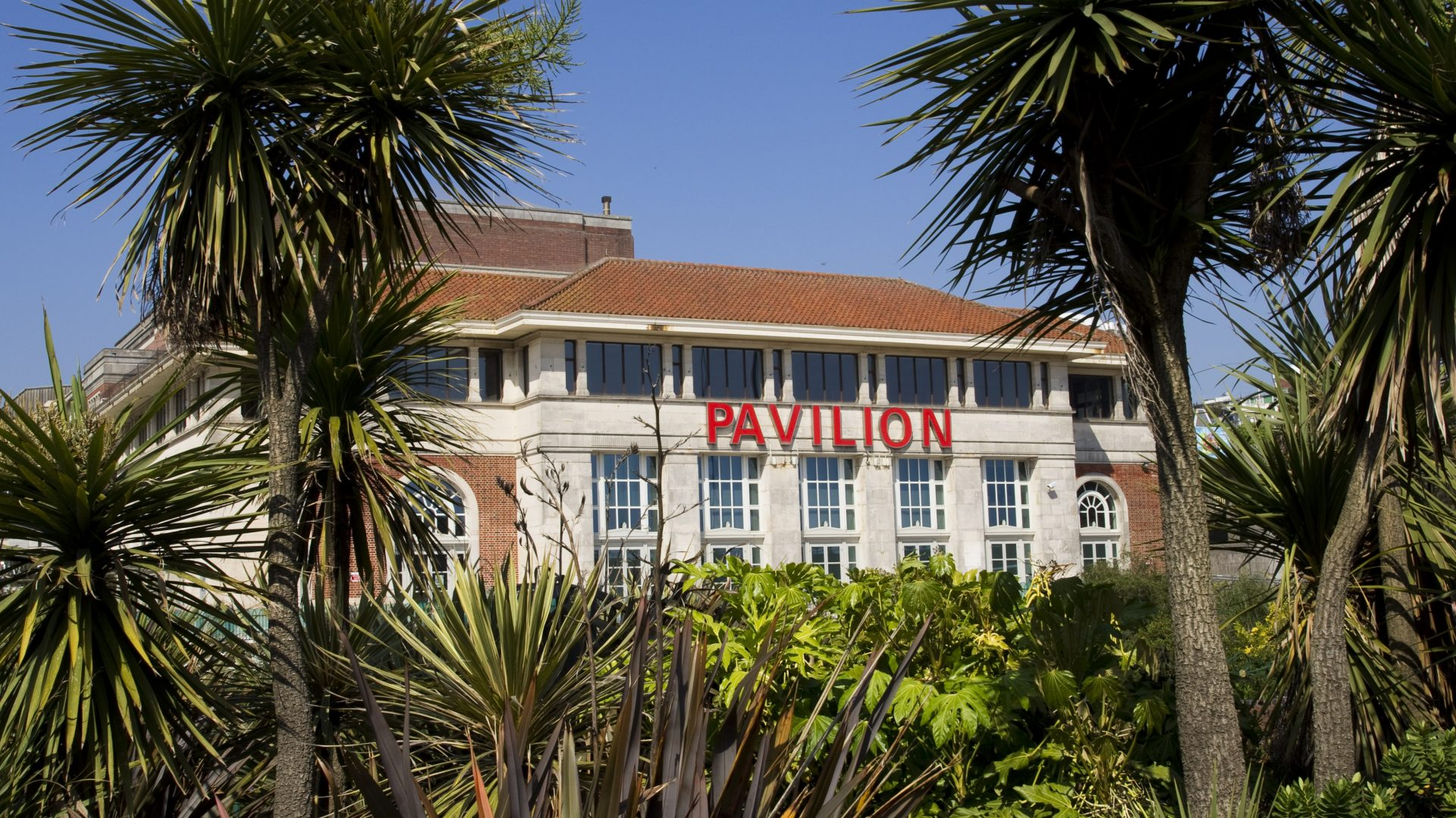 A photo of Bournemouth Pavilion exterior taken from the Lower Gardens