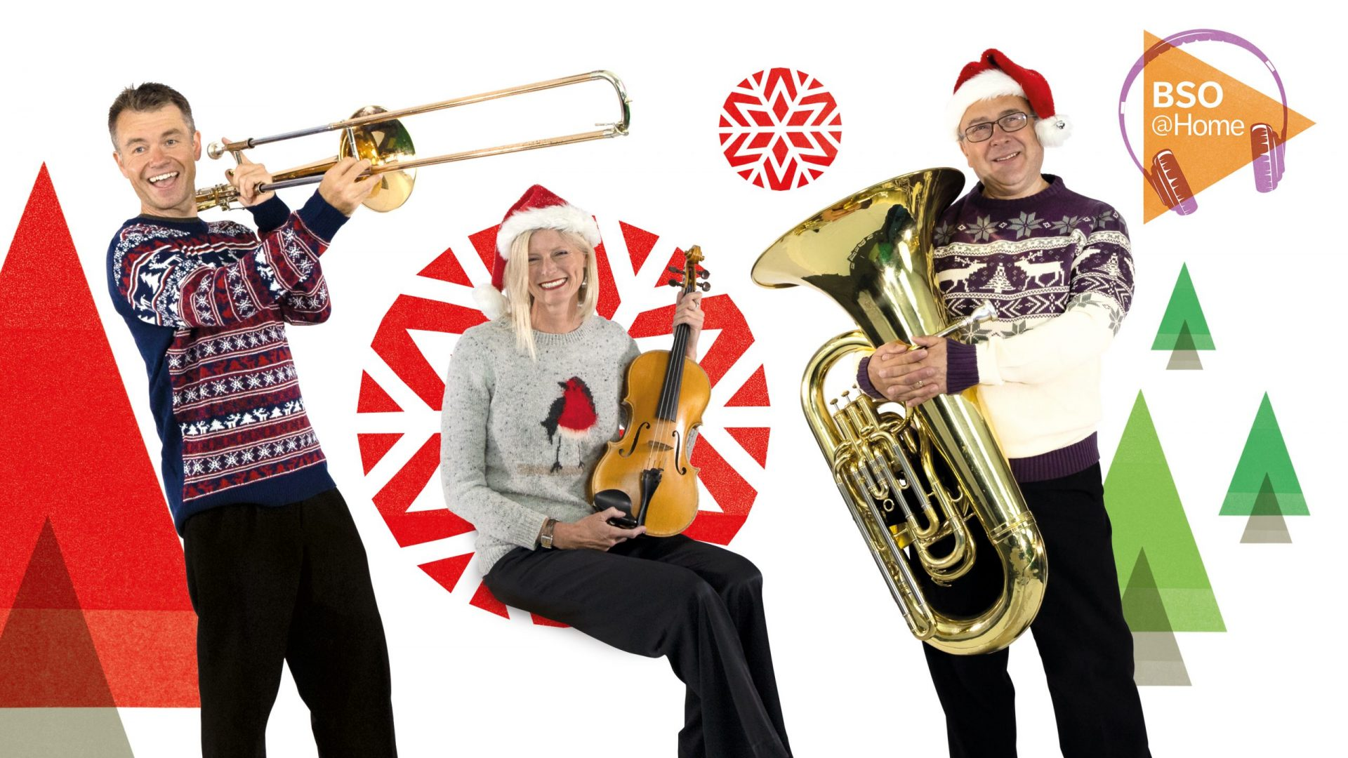 BSO Christmas, musicians wearing Christmas jumpers.