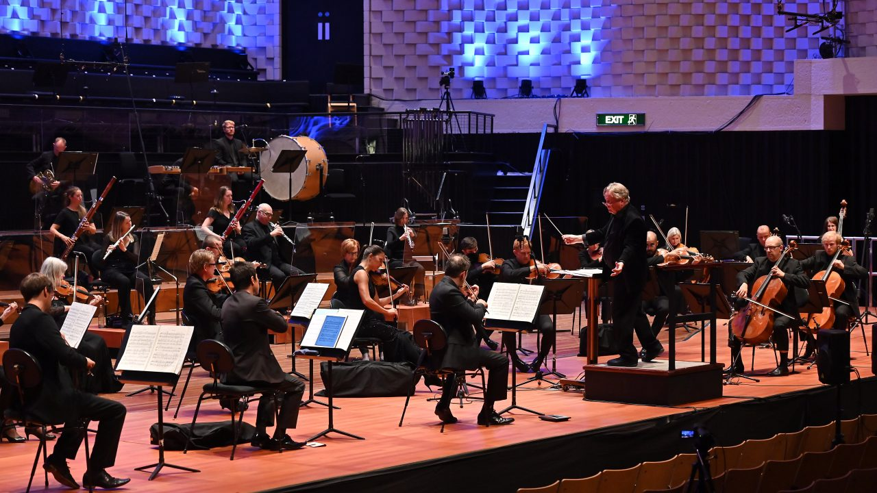 The Bournmouth Symphony Orchestra conducted by David Hill MBE, Associate Guest Conductor, rehearsing in the Lighthouse Arts Centre on Tuesday 29 Sept. 2020. Photo by Mark Allan